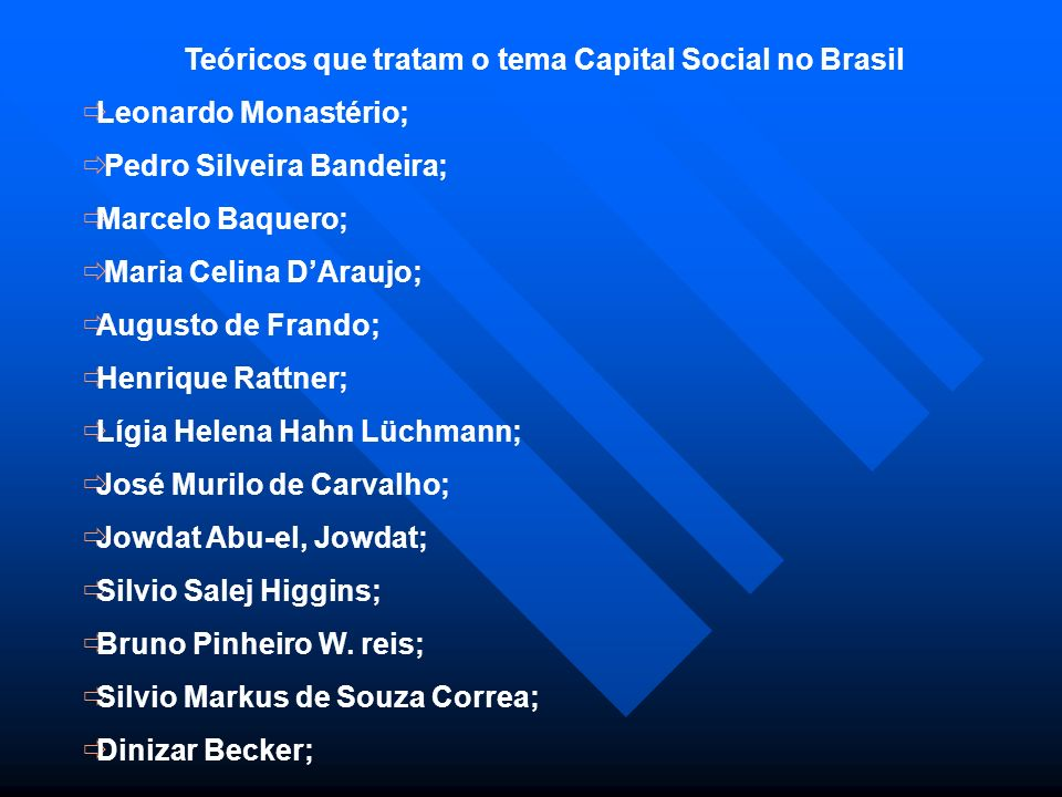 Teóricos que tratam o tema Capital Social no Brasil Leonardo Monastério; Pedro Silveira Bandeira; Marcelo Baquero; Maria Celina DAraujo; Augusto de Fr