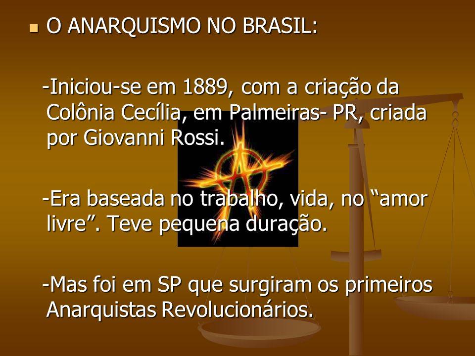 O ANARQUISMO NO BRASIL: O ANARQUISMO NO BRASIL: -Iniciou-se em 1889, com a criação da Colônia Cecília, em Palmeiras- PR, criada por Giovanni Rossi. -I