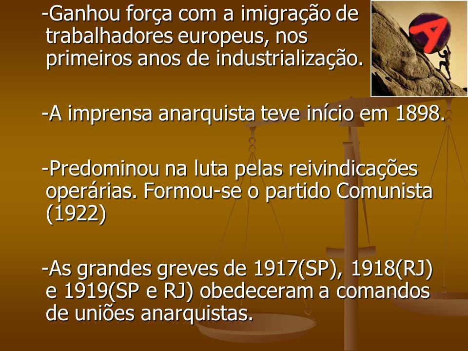 -Ganhou força com a imigração de trabalhadores europeus, nos primeiros anos de industrialização. -Ganhou força com a imigração de trabalhadores europe