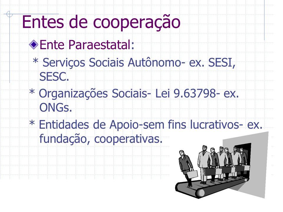 Entes de cooperação Ente Paraestatal: * Serviços Sociais Autônomo- ex.