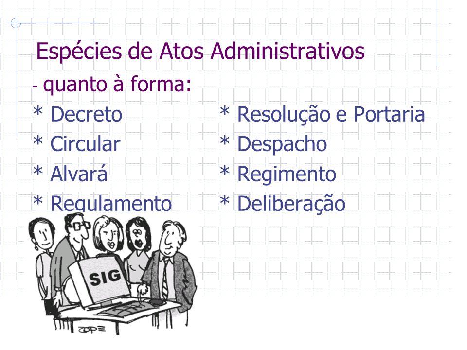 Espécies de Atos Administrativos - quanto à forma: * Decreto* Resolução e Portaria * Circular* Despacho * Alvará* Regimento * Regulamento* Deliberação