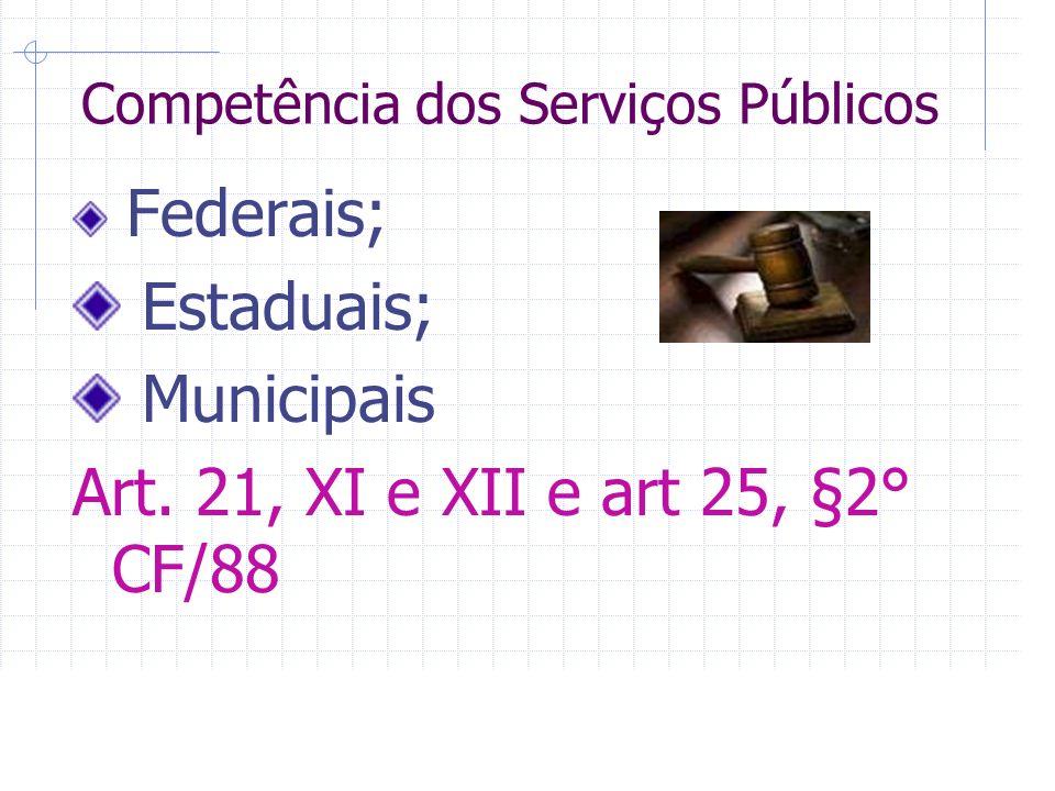 Competência dos Serviços Públicos Federais; Estaduais; Municipais Art.