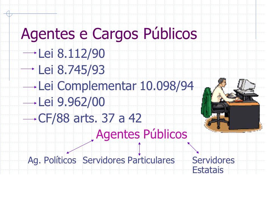Agentes e Cargos Públicos Lei 8.112/90 Lei 8.745/93 Lei Complementar 10.098/94 Lei 9.962/00 CF/88 arts.