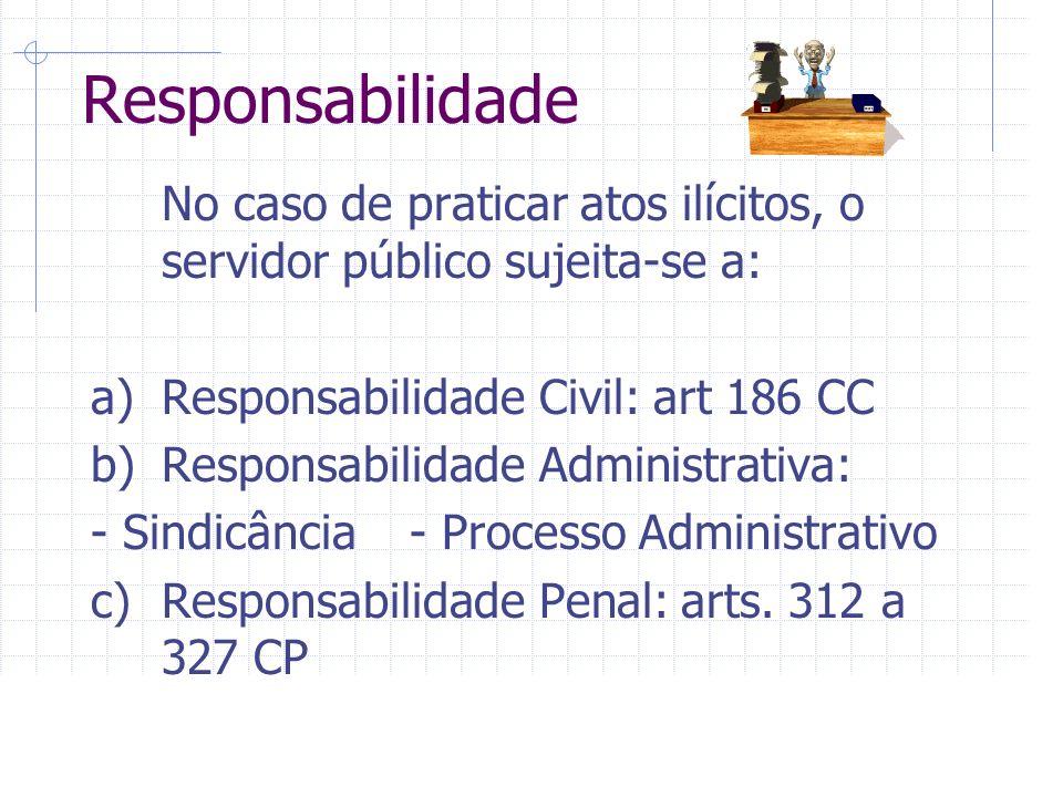 Responsabilidade No caso de praticar atos ilícitos, o servidor público sujeita-se a: a)Responsabilidade Civil: art 186 CC b)Responsabilidade Administrativa: - Sindicância- Processo Administrativo c)Responsabilidade Penal: arts.