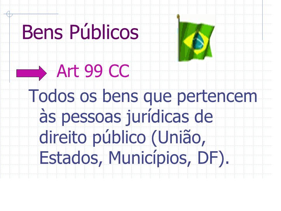 Bens Públicos Art 99 CC Todos os bens que pertencem às pessoas jurídicas de direito público (União, Estados, Municípios, DF).