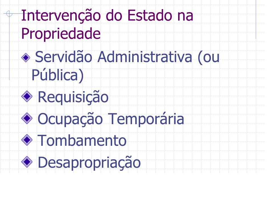 Intervenção do Estado na Propriedade Servidão Administrativa (ou Pública) Requisição Ocupação Temporária Tombamento Desapropriação