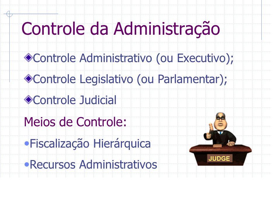 Controle da Administração Controle Administrativo (ou Executivo); Controle Legislativo (ou Parlamentar); Controle Judicial Meios de Controle: Fiscalização Hierárquica Recursos Administrativos