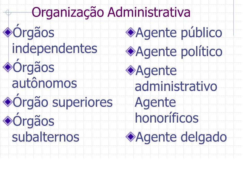 Organização Administrativa Órgãos independentes Órgãos autônomos Órgão superiores Órgãos subalternos Agente público Agente político Agente administrativo Agente honoríficos Agente delgado