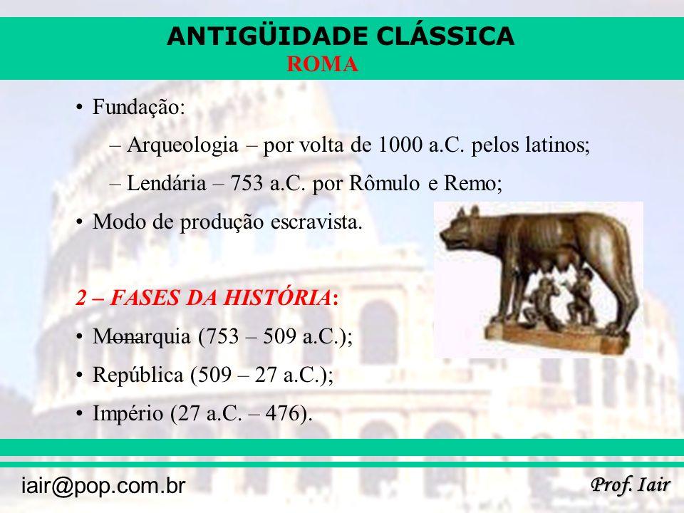ANTIGÜIDADE CLÁSSICA Prof. Iair iair@pop.com.br ROMA Fundação: –Arqueologia – por volta de 1000 a.C. pelos latinos; –Lendária – 753 a.C. por Rômulo e