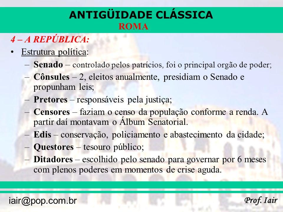 ANTIGÜIDADE CLÁSSICA Prof. Iair iair@pop.com.br ROMA 4 – A REPÚBLICA: Estrutura política: –Senado – controlado pelos patrícios, foi o principal orgão
