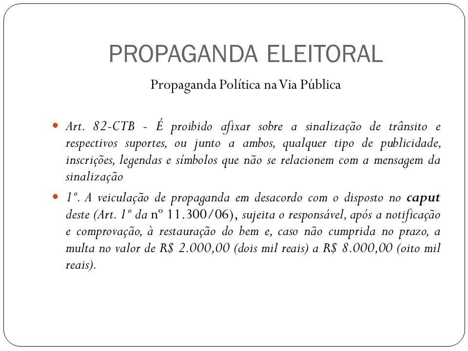 PROPAGANDA ELEITORAL Propaganda Política na Via Pública Art.