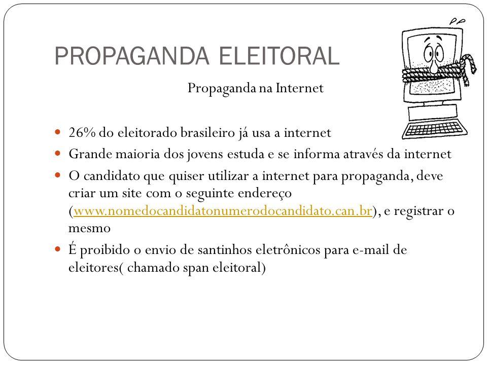 PROPAGANDA ELEITORAL Propaganda na Internet 26% do eleitorado brasileiro já usa a internet Grande maioria dos jovens estuda e se informa através da internet O candidato que quiser utilizar a internet para propaganda, deve criar um site com o seguinte endereço (www.nomedocandidatonumerodocandidato.can.br), e registrar o mesmowww.nomedocandidatonumerodocandidato.can.br É proibido o envio de santinhos eletrônicos para e-mail de eleitores( chamado span eleitoral)