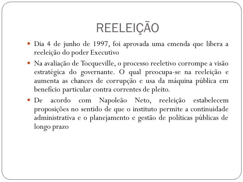 REELEIÇÃO Dia 4 de junho de 1997, foi aprovada uma emenda que libera a reeleição do poder Executivo Na avaliação de Tocqueville, o processo reeletivo corrompe a visão estratégica do governante.