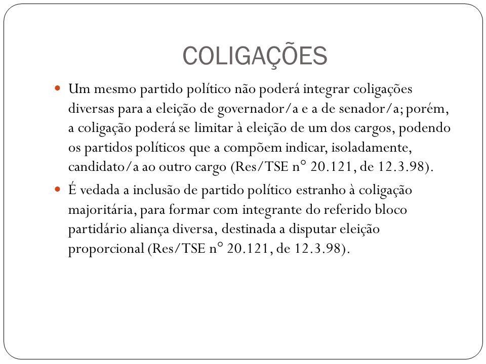 COLIGAÇÕES Um mesmo partido político não poderá integrar coligações diversas para a eleição de governador/a e a de senador/a; porém, a coligação poderá se limitar à eleição de um dos cargos, podendo os partidos políticos que a compõem indicar, isoladamente, candidato/a ao outro cargo (Res/TSE n° 20.121, de 12.3.98).