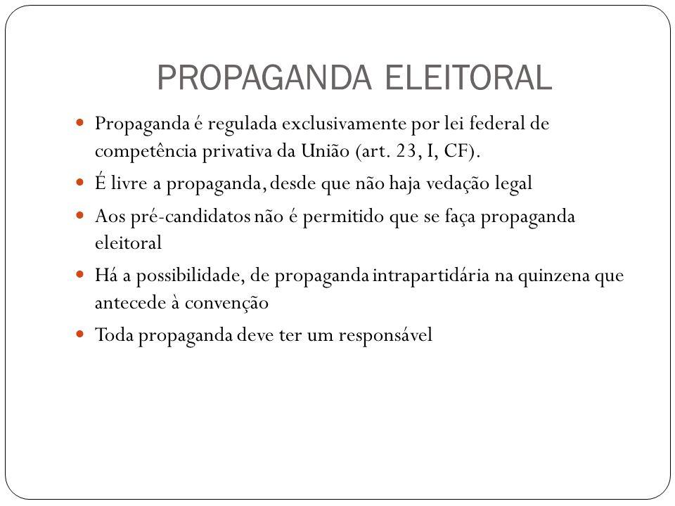 PROPAGANDA ELEITORAL Propaganda é regulada exclusivamente por lei federal de competência privativa da União (art.