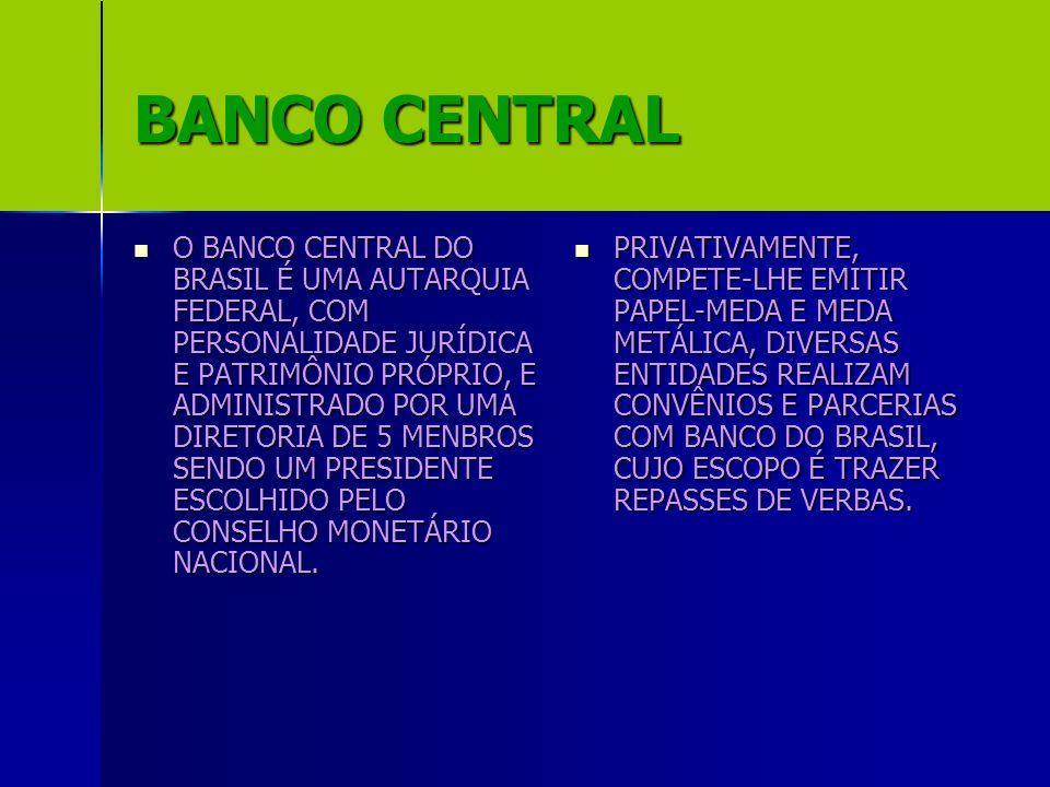 BANCO CENTRAL O BANCO CENTRAL DO BRASIL É UMA AUTARQUIA FEDERAL, COM PERSONALIDADE JURÍDICA E PATRIMÔNIO PRÓPRIO, E ADMINISTRADO POR UMA DIRETORIA DE