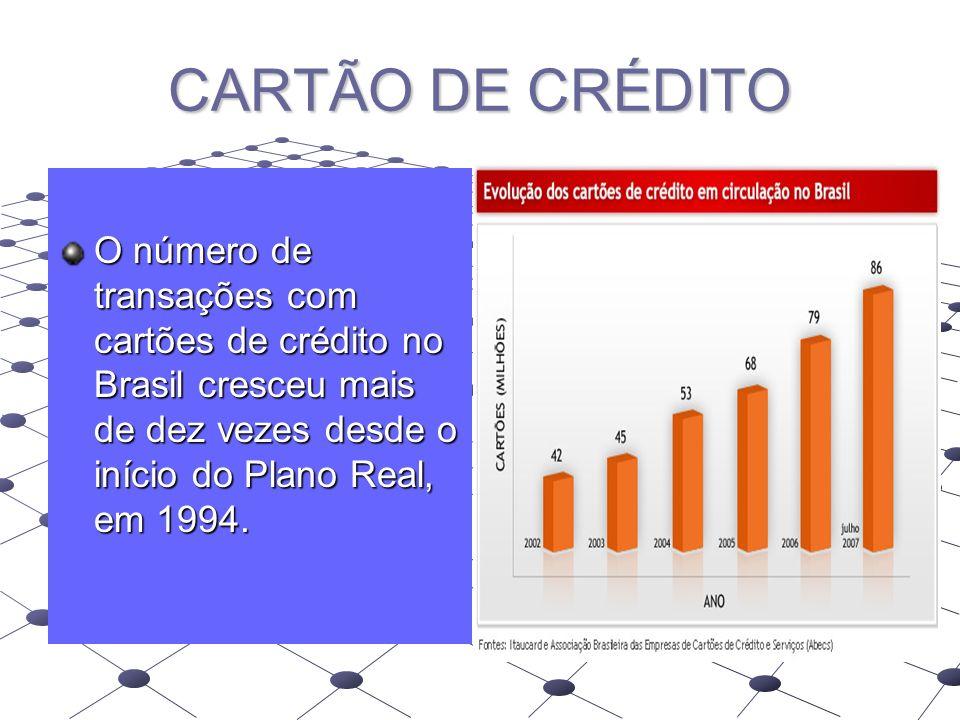 CARTÃO DE CRÉDITO O número de transações com cartões de crédito no Brasil cresceu mais de dez vezes desde o início do Plano Real, em 1994.