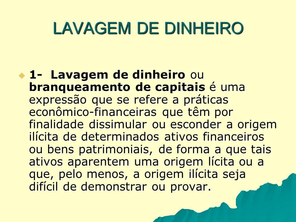 LAVAGEM DE DINHEIRO 1- Lavagem de dinheiro ou branqueamento de capitais é uma expressão que se refere a práticas econômico-financeiras que têm por fin