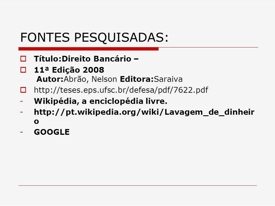 FONTES PESQUISADAS: Título:Direito Bancário – 11ª Edição 2008 Autor:Abrão, Nelson Editora:Saraiva http://teses.eps.ufsc.br/defesa/pdf/7622.pdf -Wikipé