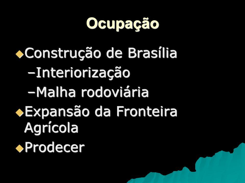 Agropecuária A região do cerrado contribui com mais de 70% da produção de carne bovina do país e, graças à irrigação e técnicas de correção do solo, é também um importante centro de produção de grãos, principalmente soja, feijão, milho e arroz.