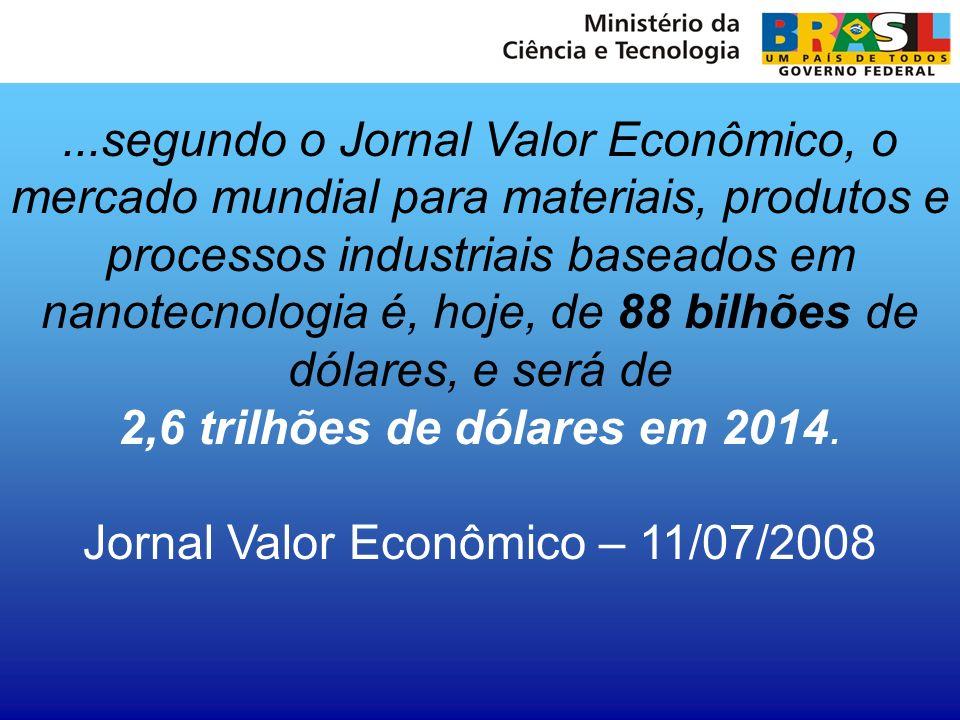 ...segundo o Jornal Valor Econômico, o mercado mundial para materiais, produtos e processos industriais baseados em nanotecnologia é, hoje, de 88 bilh