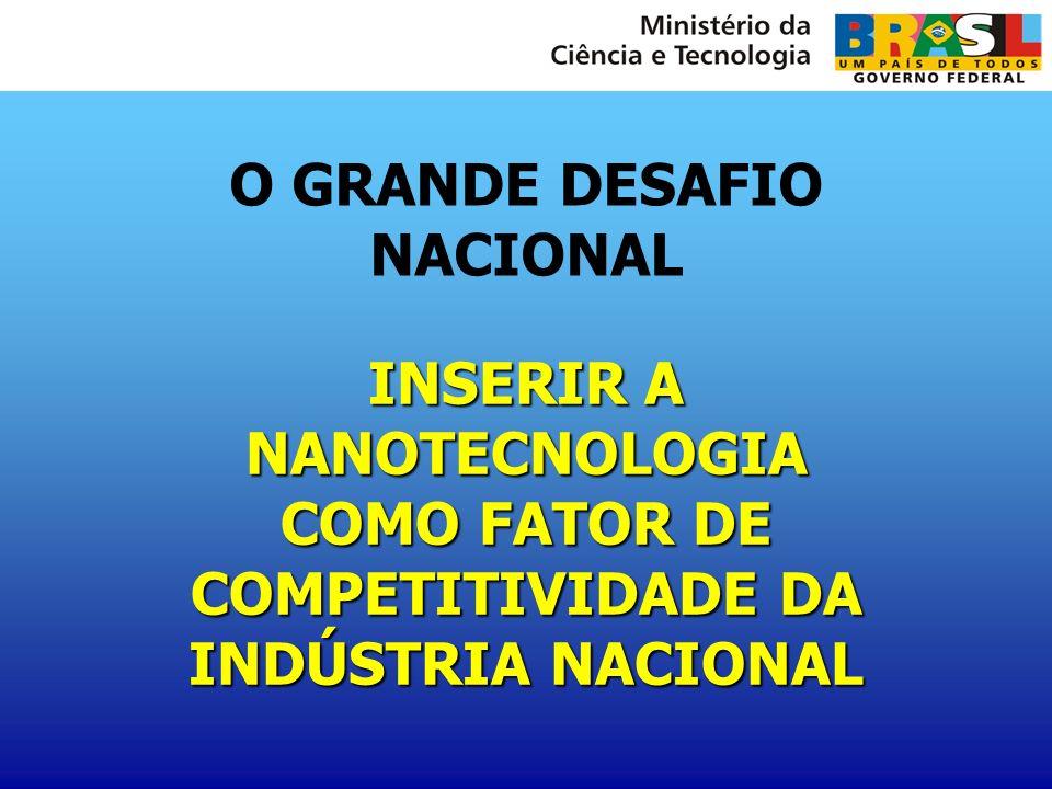 O GRANDE DESAFIO NACIONAL INSERIR A NANOTECNOLOGIA COMO FATOR DE COMPETITIVIDADE DA INDÚSTRIA NACIONAL