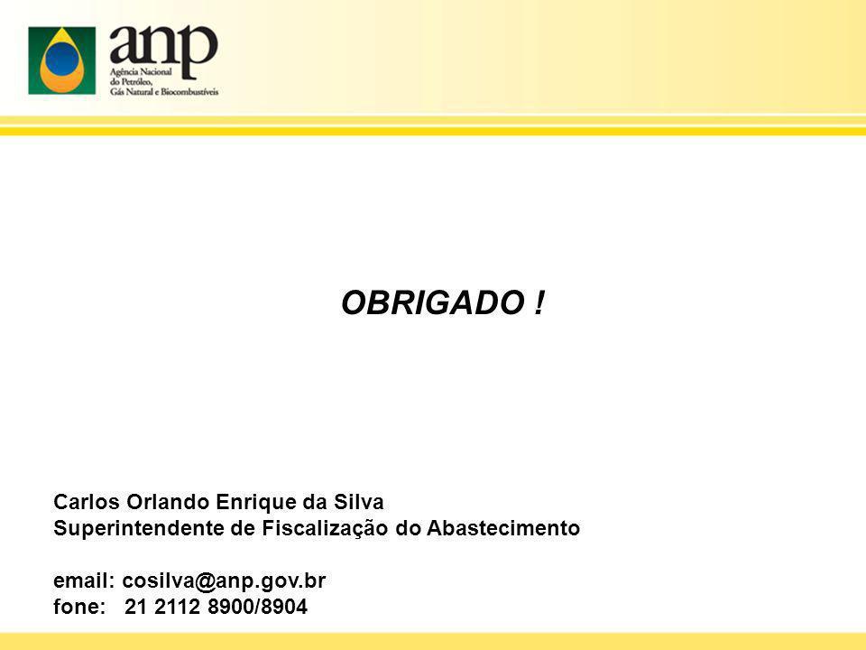 Carlos Orlando Enrique da Silva Superintendente de Fiscalização do Abastecimento email: cosilva@anp.gov.br fone: 21 2112 8900/8904 OBRIGADO !