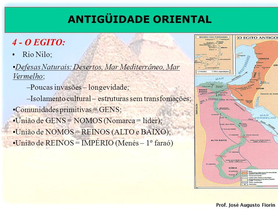 ANTIGÜIDADE ORIENTAL Prof. José Augusto Fiorin 4 - O EGITO: Rio Nilo; Defesas Naturais: Desertos, Mar Mediterrâneo, Mar Vermelho; –Poucas invasões – l