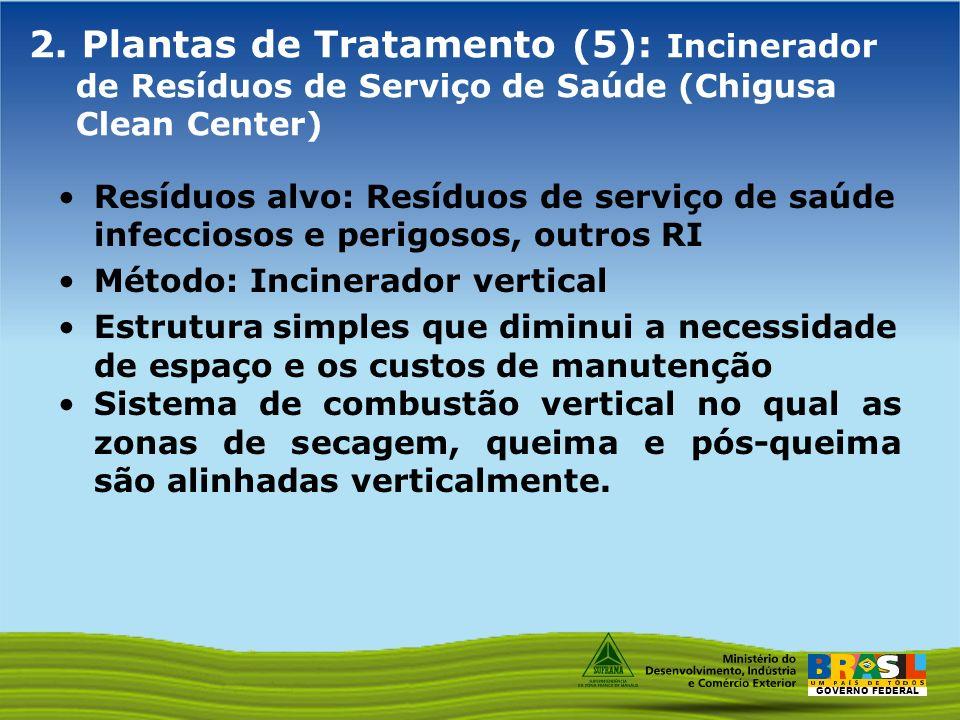 GOVERNO FEDERAL 2. Plantas de Tratamento (5): Incinerador de Resíduos de Serviço de Saúde (Chigusa Clean Center) Resíduos alvo: Resíduos de serviço de