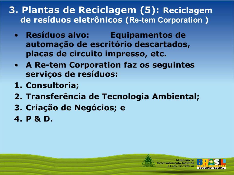 GOVERNO FEDERAL 3. Plantas de Reciclagem (5): Reciclagem de resíduos eletrônicos ( Re-tem Corporation ) Resíduos alvo: Equipamentos de automação de es