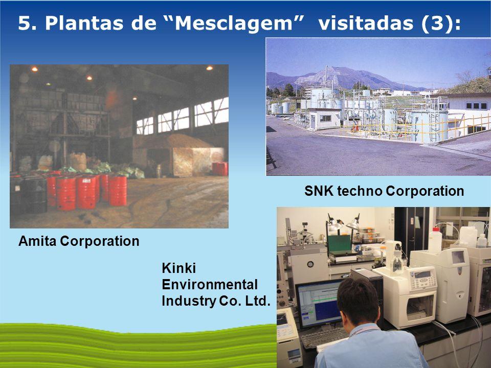 GOVERNO FEDERAL 5. Plantas de Mesclagem visitadas (3): SNK techno Corporation Amita Corporation Kinki Environmental Industry Co. Ltd.