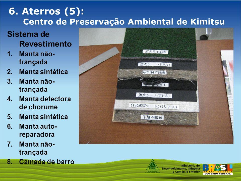 GOVERNO FEDERAL 6. Aterros (5): Centro de Preservação Ambiental de Kimitsu Sistema de Revestimento 1.Manta não- trançada 2.Manta sintética 3.Manta não