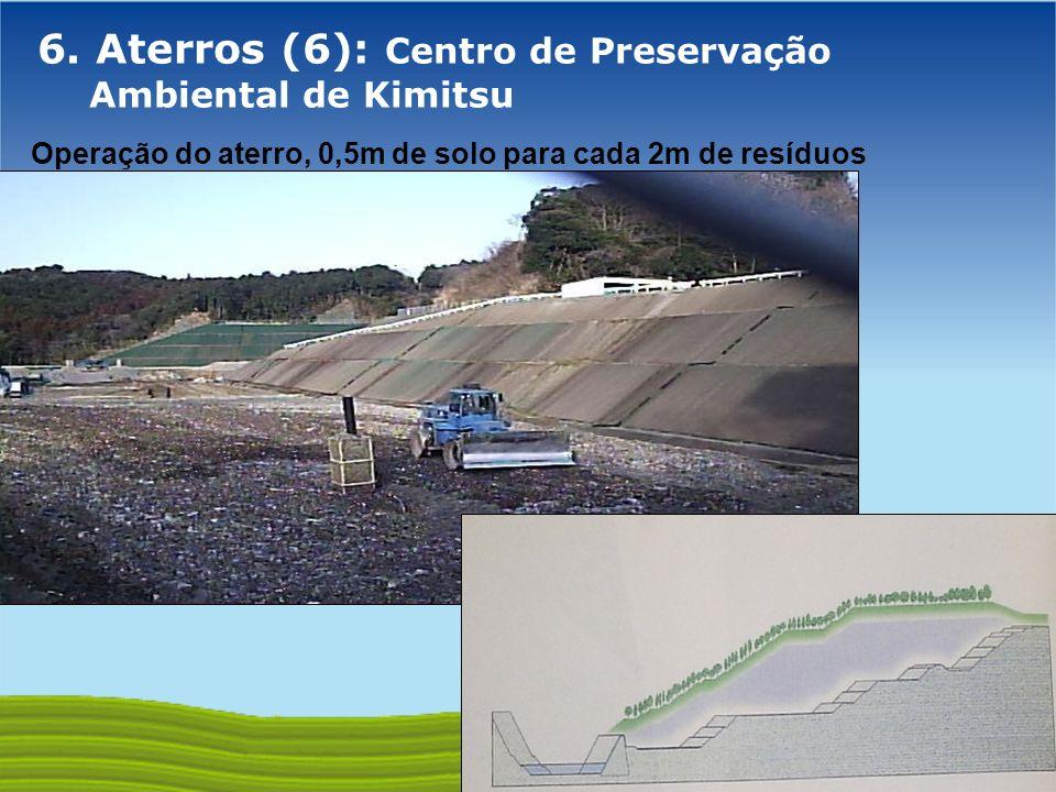 GOVERNO FEDERAL 6. Aterros (6): Centro de Preservação Ambiental de Kimitsu Operação do aterro, 0,5m de solo para cada 2m de resíduos