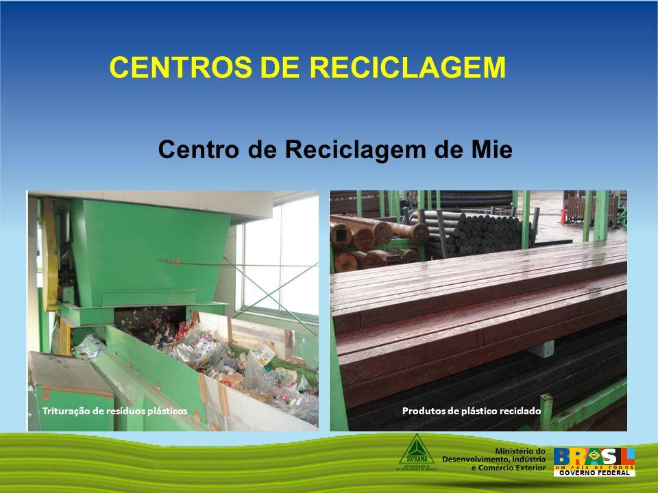 GOVERNO FEDERAL Centro de Reciclagem de Mie CENTROS DE RECICLAGEM Trituração de resíduos plásticosProdutos de plástico reciclado