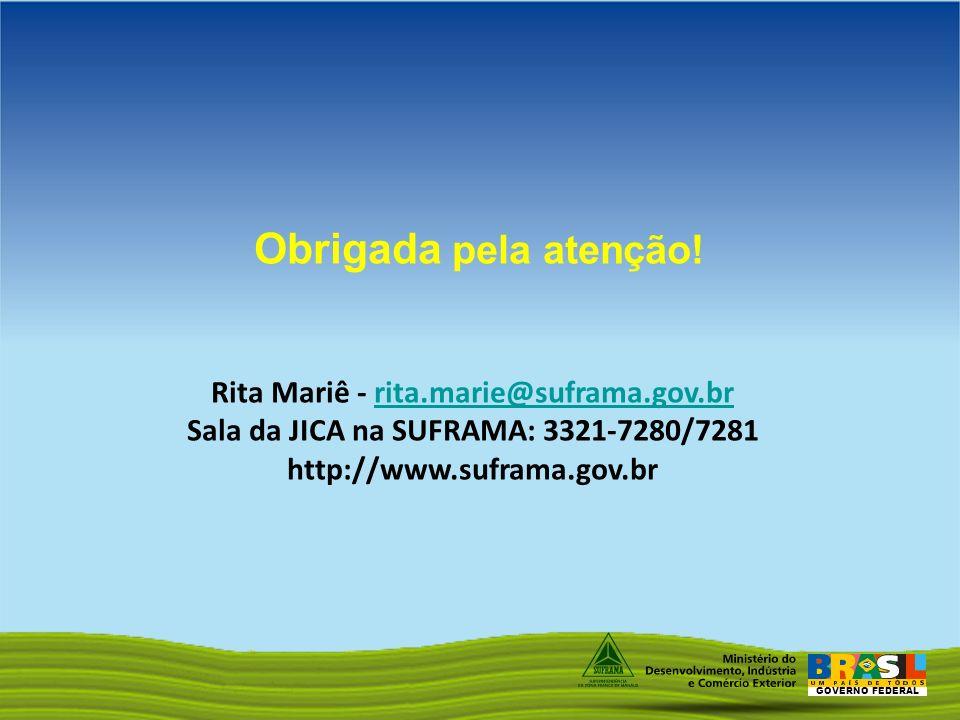 GOVERNO FEDERAL Obrigada pela atenção! Rita Mariê - rita.marie@suframa.gov.brrita.marie@suframa.gov.br Sala da JICA na SUFRAMA: 3321-7280/7281 http://