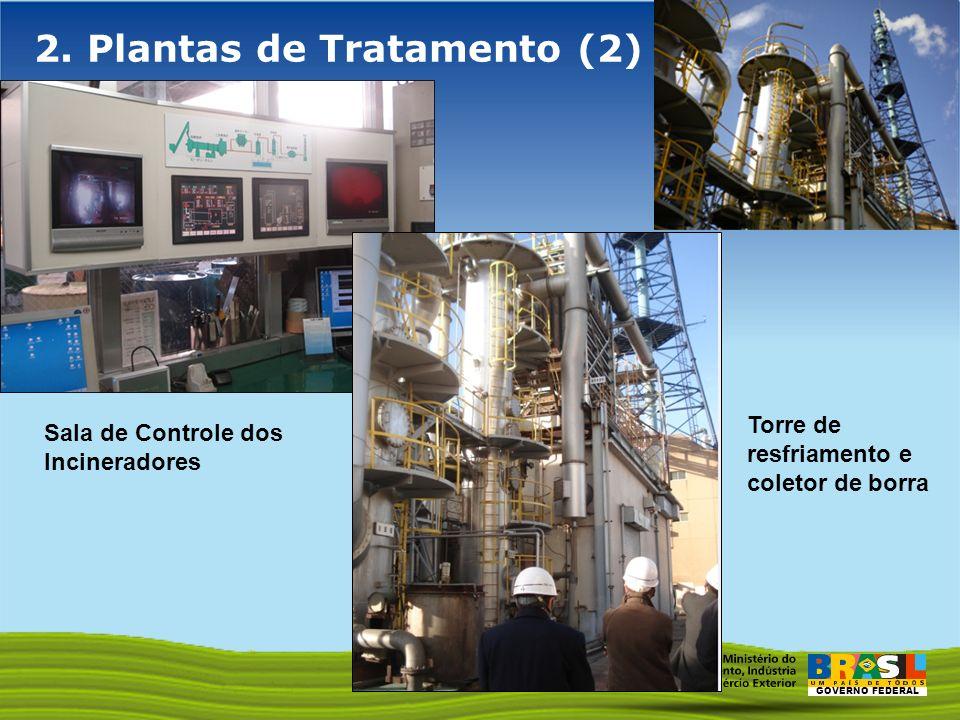 GOVERNO FEDERAL 2. Plantas de Tratamento (2) Sala de Controle dos Incineradores Torre de resfriamento e coletor de borra