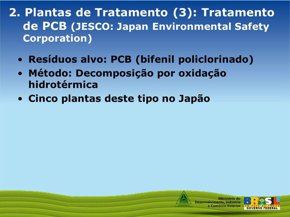 GOVERNO FEDERAL 2. Plantas de Tratamento (3): Tratamento de PCB (JESCO: Japan Environmental Safety Corporation) Resíduos alvo: PCB (bifenil policlorin