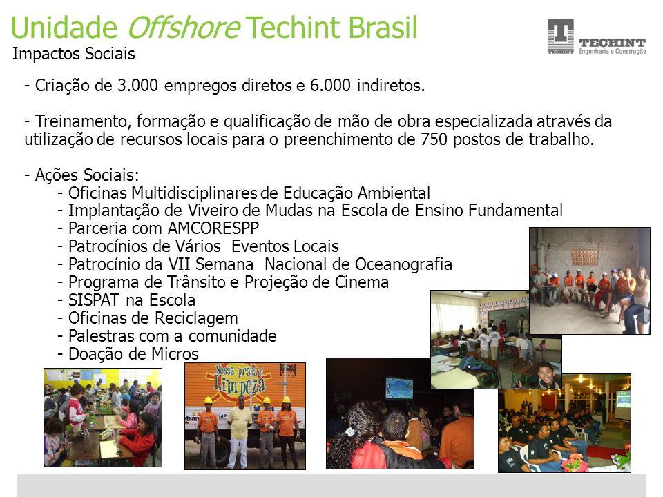 Unidade Offshore Techint 16 Ricardo Ourique Unidade Offshore Techint Brasil Impactos Sociais - Criação de 3.000 empregos diretos e 6.000 indiretos. -