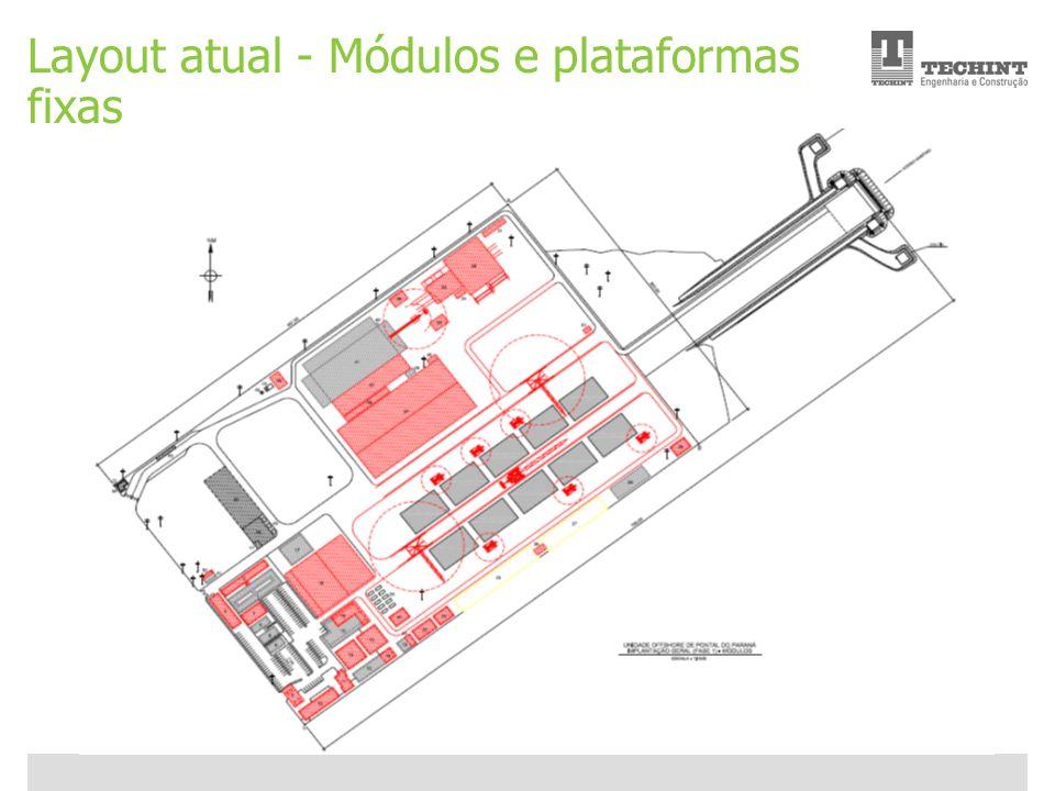 Unidade Offshore Techint 17 Ricardo Ourique Layout atual - Módulos e plataformas fixas