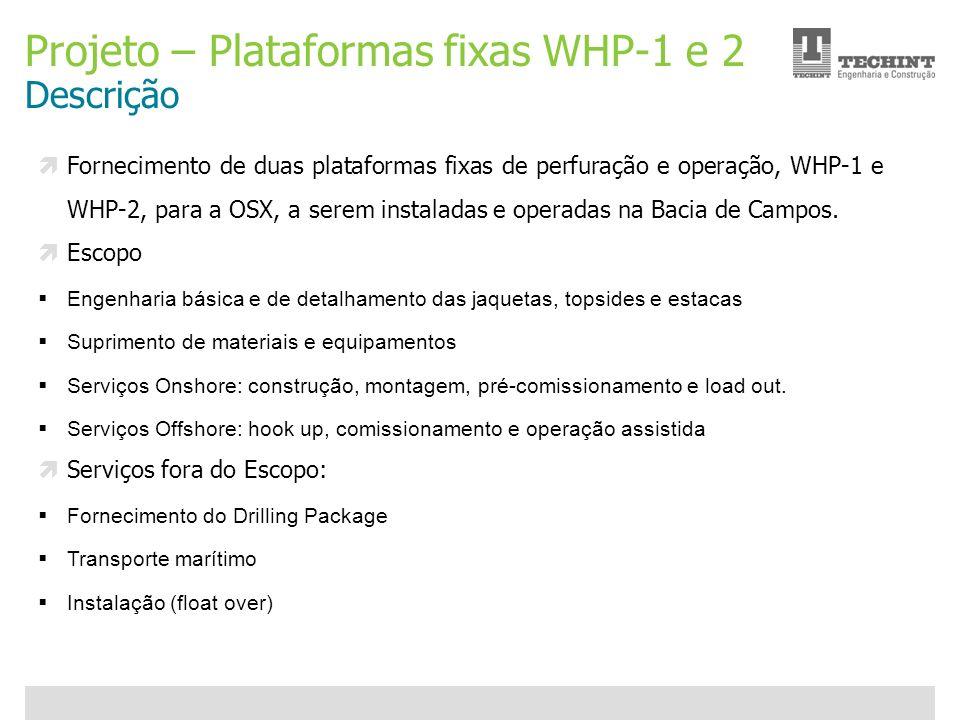 Unidade Offshore Techint 20 Ricardo Ourique Projeto – Plataformas fixas WHP-1 e 2 Descrição Fornecimento de duas plataformas fixas de perfuração e ope