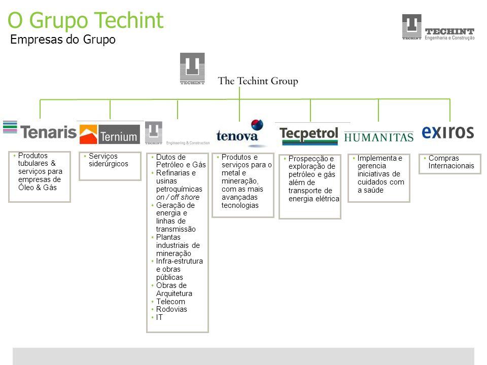 Unidade Offshore Techint 5 Ricardo Ourique O Grupo Techint Empresas do Grupo Serviços siderúrgicos Produtos tubulares & serviços para empresas de Óleo