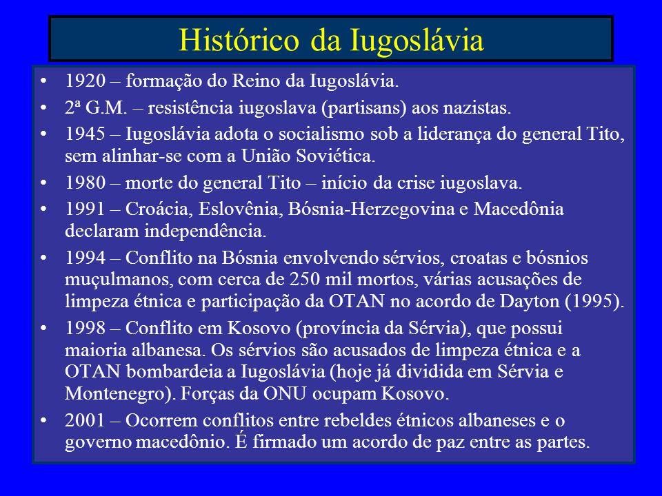 Histórico da Iugoslávia 1920 – formação do Reino da Iugoslávia. 2ª G.M. – resistência iugoslava (partisans) aos nazistas. 1945 – Iugoslávia adota o so