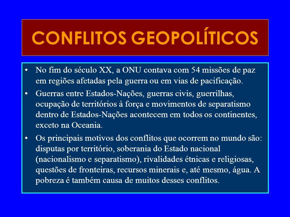 No fim do século XX, a ONU contava com 54 missões de paz em regiões afetadas pela guerra ou em vias de pacificação. Guerras entre Estados-Nações, guer