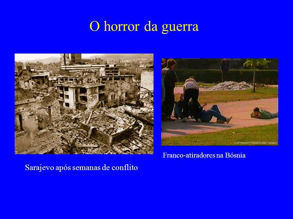 O horror da guerra Sarajevo após semanas de conflito Franco-atiradores na Bósnia