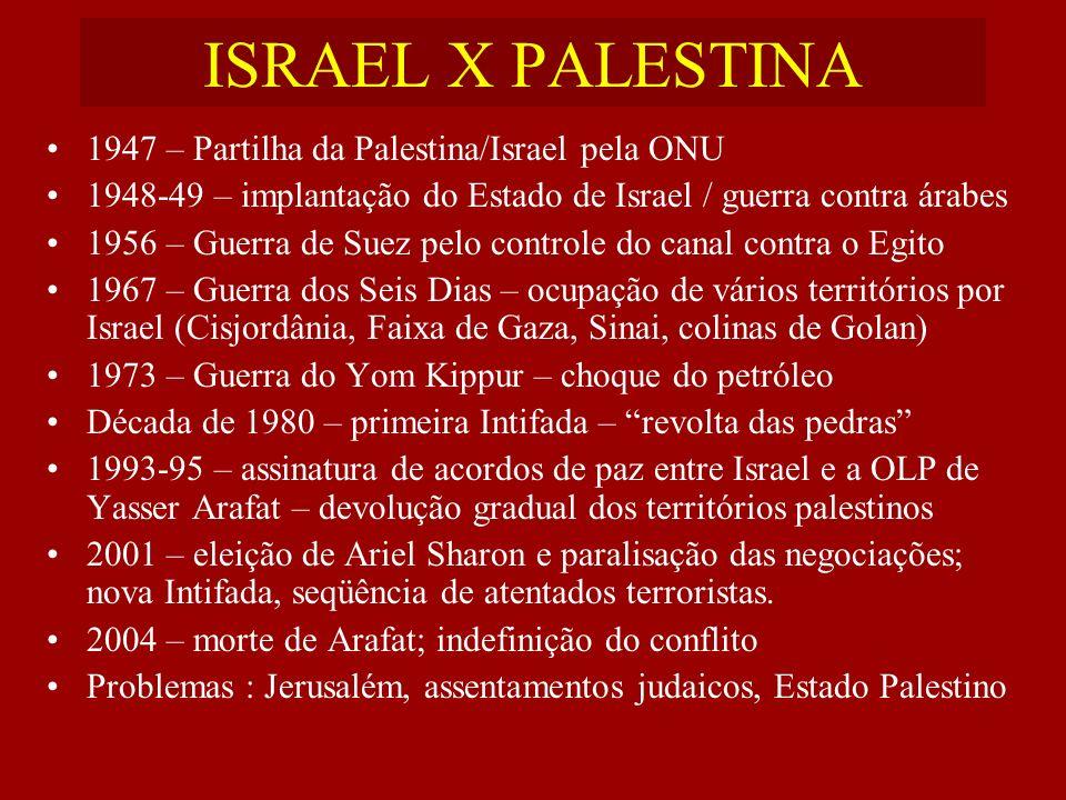 ISRAEL X PALESTINA 1947 – Partilha da Palestina/Israel pela ONU 1948-49 – implantação do Estado de Israel / guerra contra árabes 1956 – Guerra de Suez