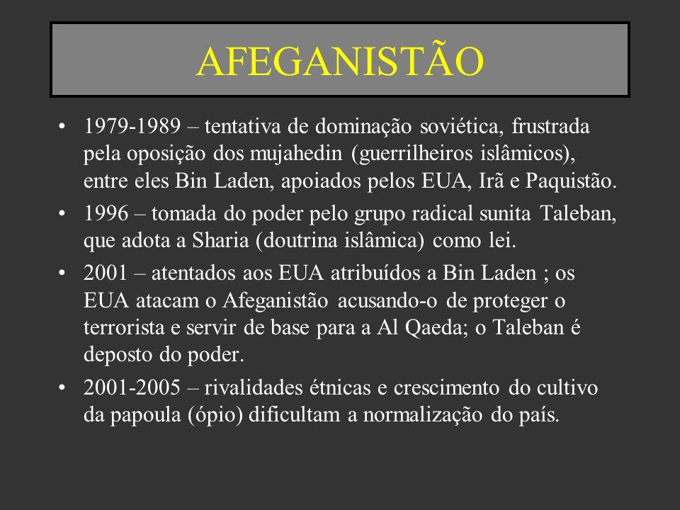 AFEGANISTÃO 1979-1989 – tentativa de dominação soviética, frustrada pela oposição dos mujahedin (guerrilheiros islâmicos), entre eles Bin Laden, apoia