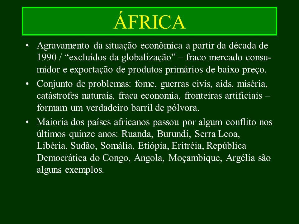 ÁFRICA Agravamento da situação econômica a partir da década de 1990 / excluídos da globalização – fraco mercado consu- midor e exportação de produtos