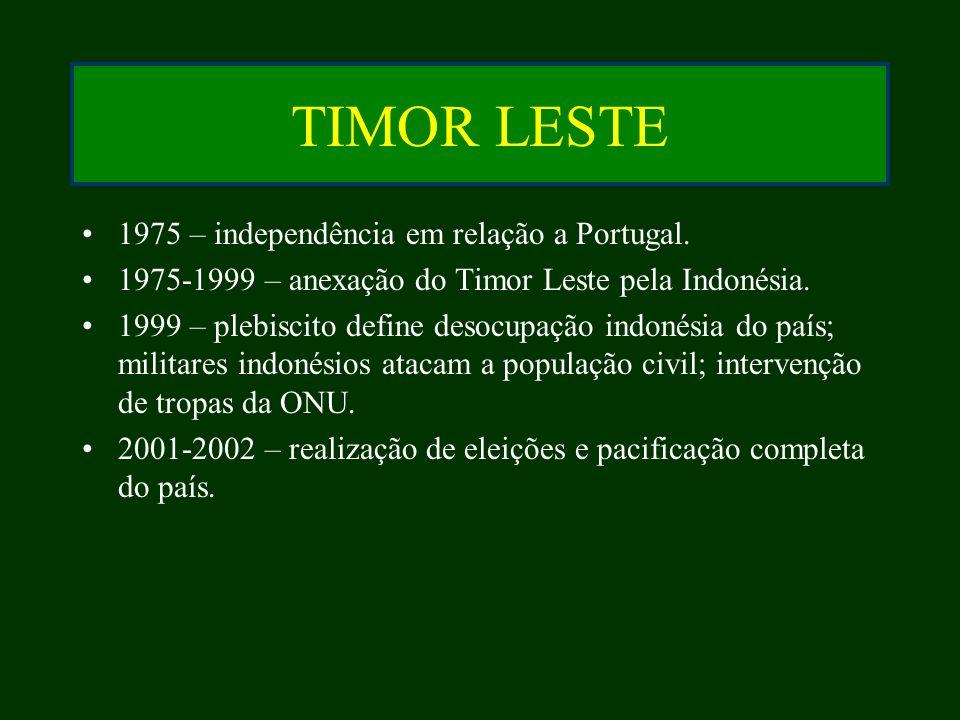 TIMOR LESTE 1975 – independência em relação a Portugal. 1975-1999 – anexação do Timor Leste pela Indonésia. 1999 – plebiscito define desocupação indon