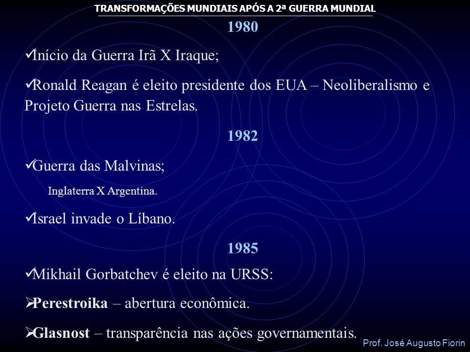Prof. José Augusto Fiorin TRANSFORMAÇÕES MUNDIAIS APÓS A 2ª GUERRA MUNDIAL 1974 Revolução dos Cravos em Portugal que derruba o Salazarismo (sob o coma