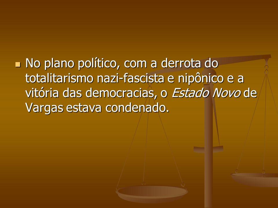 Getúlio Vargas foi deposto em 29 de outubro de 1945, por um movimento militar e, abriu-se no país o processo democrático.
